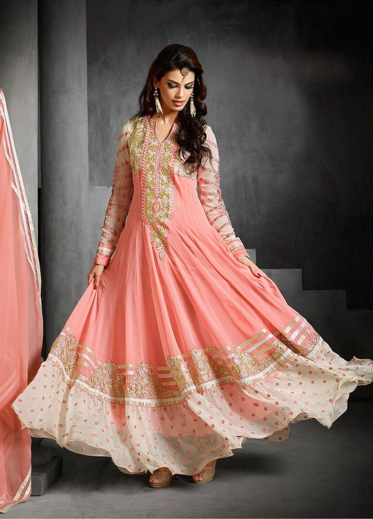 Light Pink and Gold Flared Anarkali