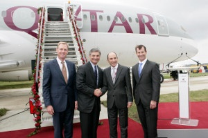 At the official reveal ceremony of Qatar Airways' Boeing 787 Dreamliner at the Farnborough Air Show in Britain. Get superb discounts at Qatar Airway using Discount & Voucher Codes.