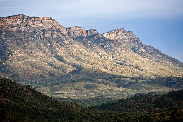 Gallery: Flinders Ranges - Australian Geographic - The view of Wilpena Pound from Prelinna Lookout in the ABC Range, South Flinders Ranges, South Australia.
