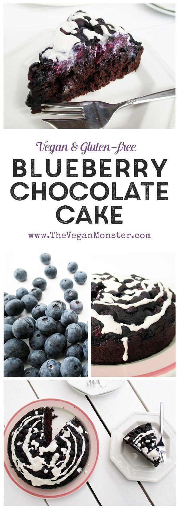 Blueberry Chocolate Cake (Vegan, Gluten-free, Without Refined Sugar, Low-Fat)