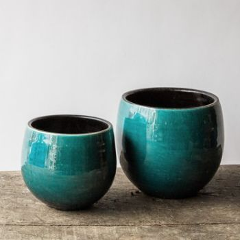 Blue Glazed Pot - Large - Trouva