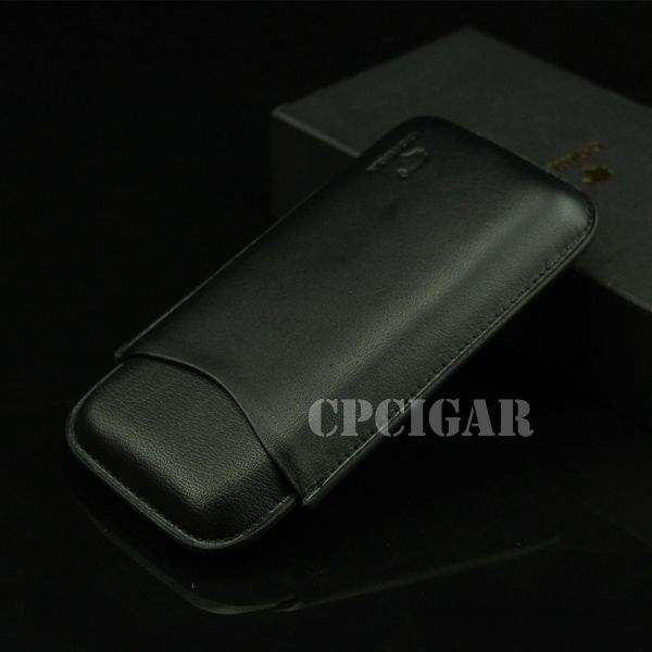 COHIBA Black Soft Genuine Leather Cigar Case Travel Pocket Cigar Humidor Case Holder 3 Cigar Cigarette Box Tube w/ Gift Box