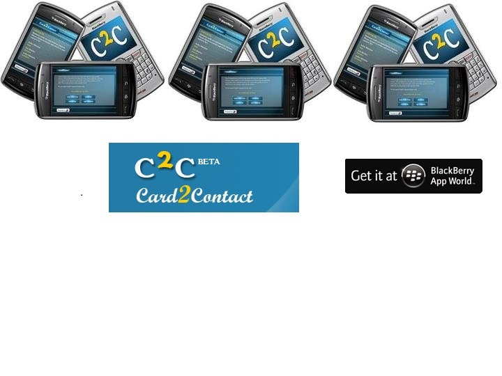 Card2Contact Converts your Business Cards into useful contact information. First Business Card Conversion App with Human Transcription for BlackBerry Smartphone