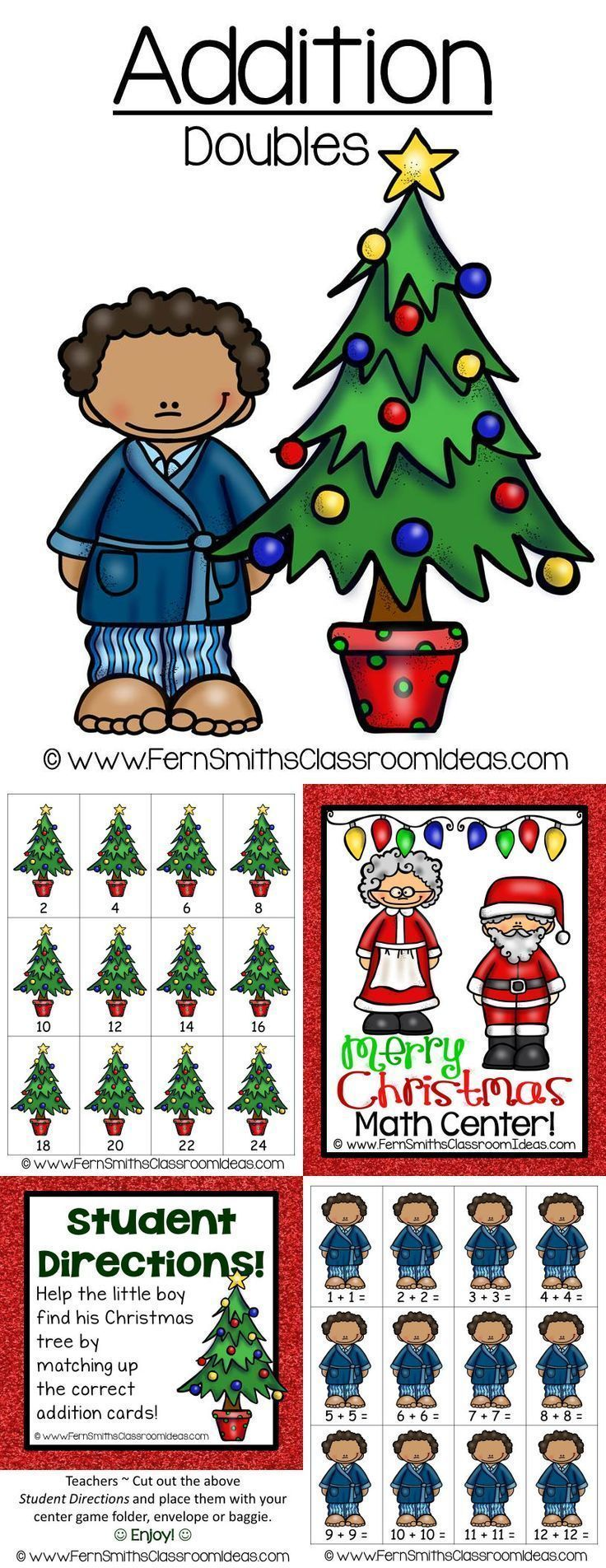 Christmas Addition Doubles Center Game ~ Quick and Easy to Prep Addition Center Game - Addition - Doubles Concept with a Cute Christmas Theme #TPT $Paid