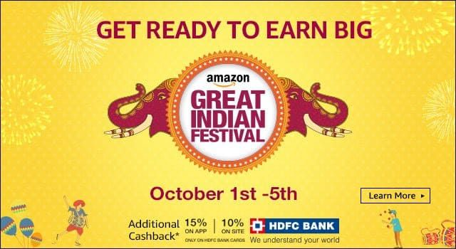 #Amazon Great India #Festival : Upto 90% Off On All Categories and 15% Additional #Cashback on #HDFC Cards.