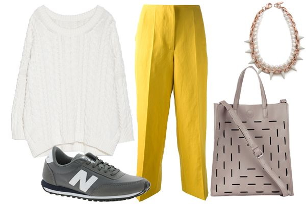 Zara Braided Square Cut Sweater, $59.90, available at Zara; New Balance 410 Gray Sneakers, $94.10, available at ASOS; Cedric Charlier Cropped Wide Leg Trouser, $485.54, available at Farfetch; Sole Society Josette Cutout Tote, $50, available at Sole Society; Joomi Lim White Out Chain & Spikes Necklace, $234, available at Shopbop.