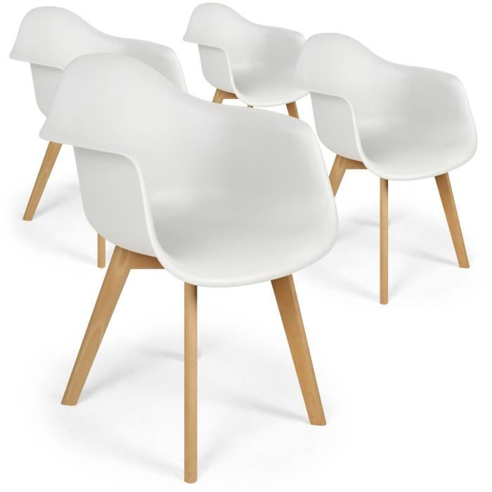 Lot De 4 Chaises Scandinaves Design Prado Blanc Chaise Scandinave Chaise Chaise Moderne