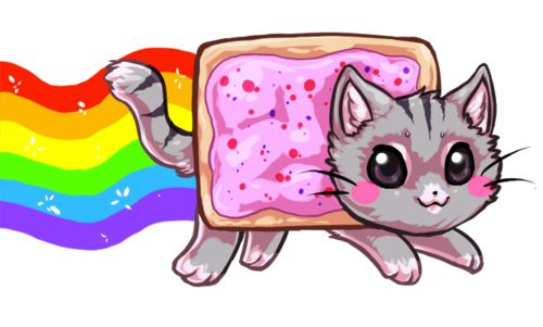 cat, nyan cat, and rainbow image