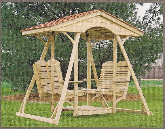 Double face to face swing for the backyard.  Outdoor furniture