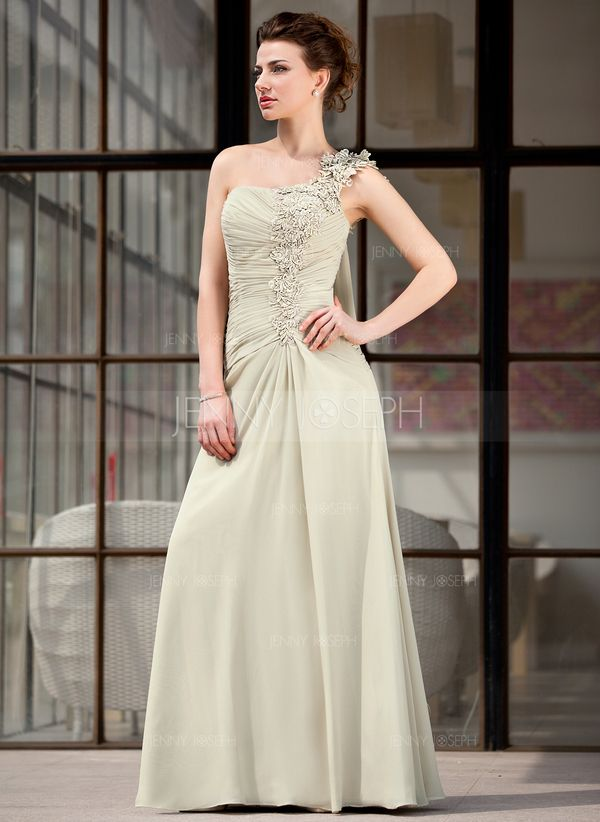 A-Line/Princess One-Shoulder Floor-Length Chiffon Mother of the Bride Dress With Ruffle Appliques (008018731)
