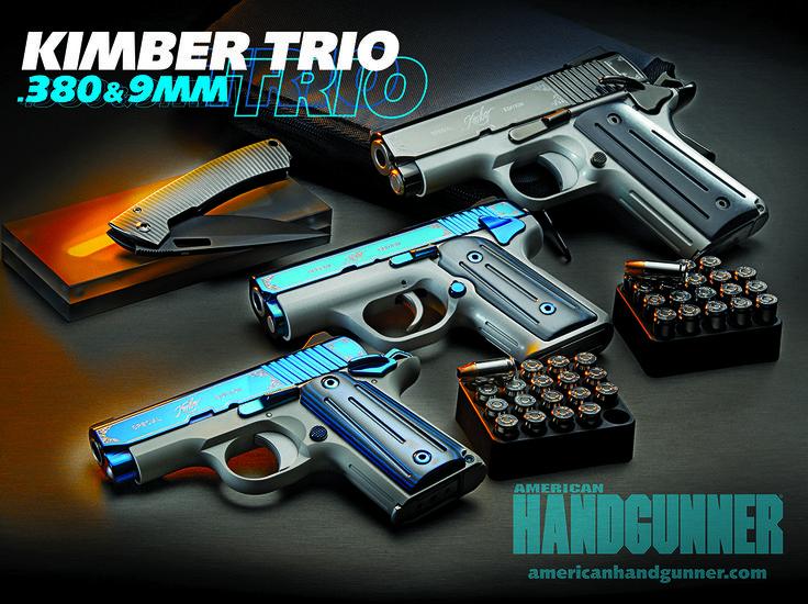 A KIMBER TRIO — Special Edition Elegance .380 & 9mm   Click to read more: http://americanhandgunner.com/a-kimber-trio-380-9mm/ #Kimber #9mm #.380 #Handgunner