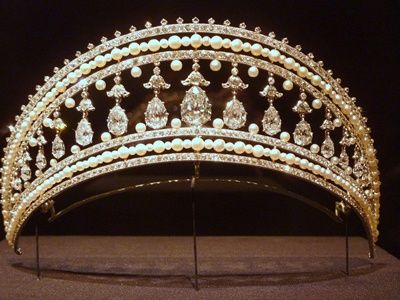 Royal Jewels of Monaco - The Halo Tiara -  Pearls, Diamonds and Platinum Halo Tiara by Cartier.Part of the personal jewelry of Princess Grace of Monaco from the time of her 1956 wedding to  Prince Rainier III