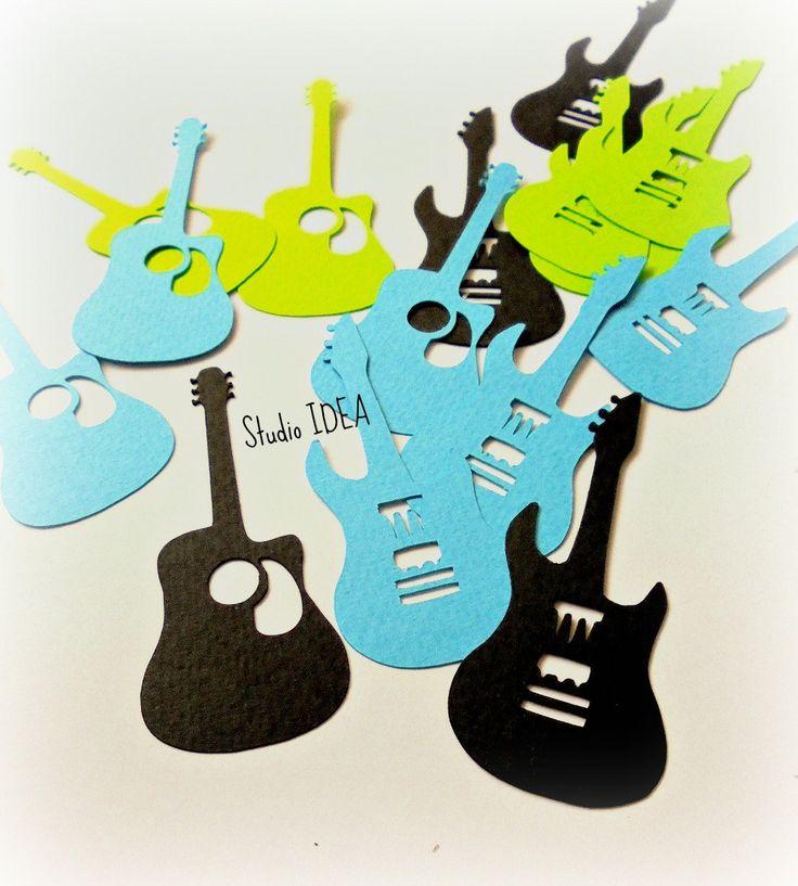 "Black, Blue, Green Electric & Classic Guitar Cut outs, Embellishments- 2.5""…"