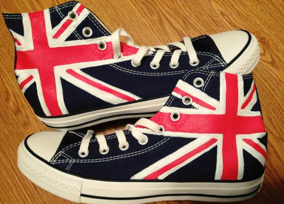 British Flag Hand Painted Custom Converse by CandysCustomPaints, $100.00