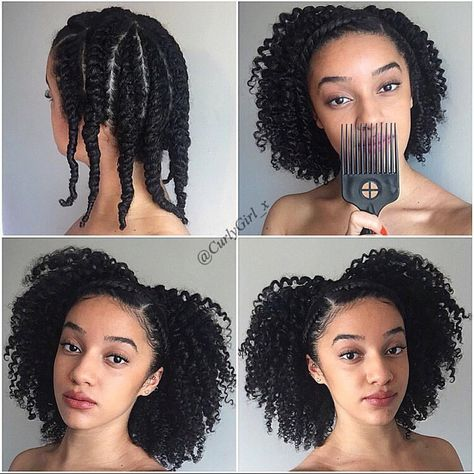 "Protective Natural Hair Styles on Instagram: ""By @curlygirl_x Twist out ❣➰ I used Cantu Shea butter leave in conditioner and JBCO to moisturise then Cantu's coconut curling cream for definition. I had a total of 9 flat twists on my head to get these medium sized curls. #cantubeauty #cantubeautyuk #curlygirl_x"""