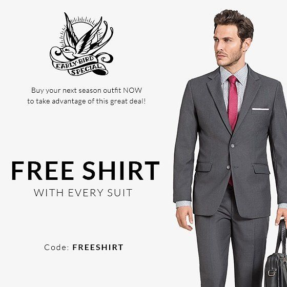 Early Bird Promotion! Use the code FREESHIRT http://Tailor4less.com