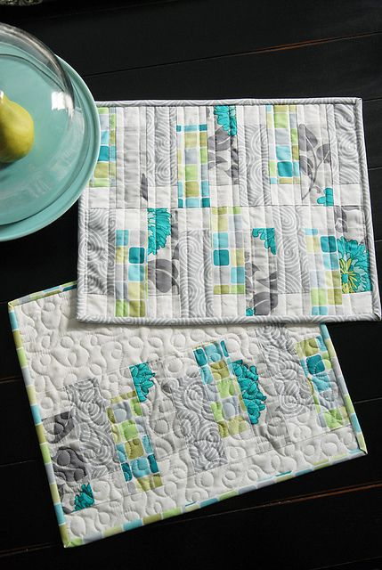 Love these placemats by Camille Roskelley. Other pictures here show she created them to color-coordinate with her dishes. Love the palette, too. Gorgeous.