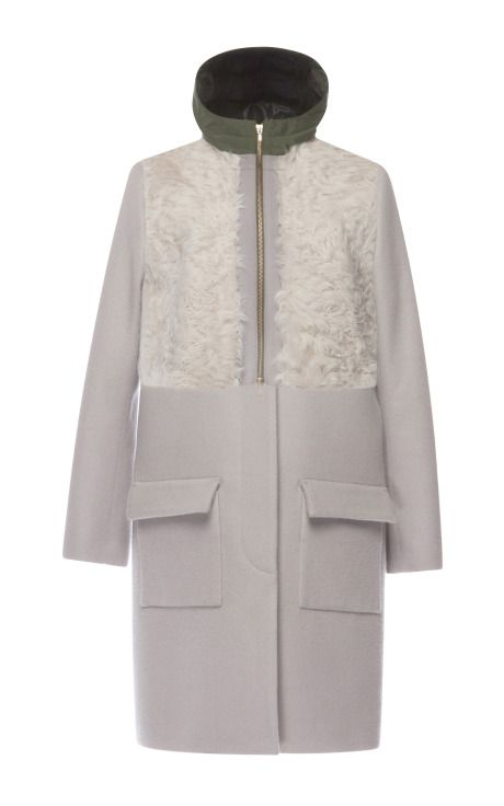 Grey Combination Fur Coat by Muller for Preorder on Moda Operandi