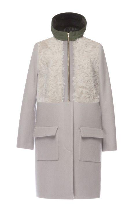 Grey Combination Fur Coat by Muller for Preorder on Moda Operandi