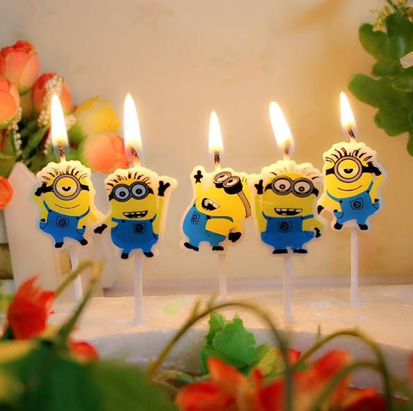 Theme birthday party Cartoon Minions Kitty doraemon Cute Novelty Candle Home party decoration Candles for kids free shipping WYQ
