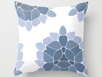 blue printed decor pillow