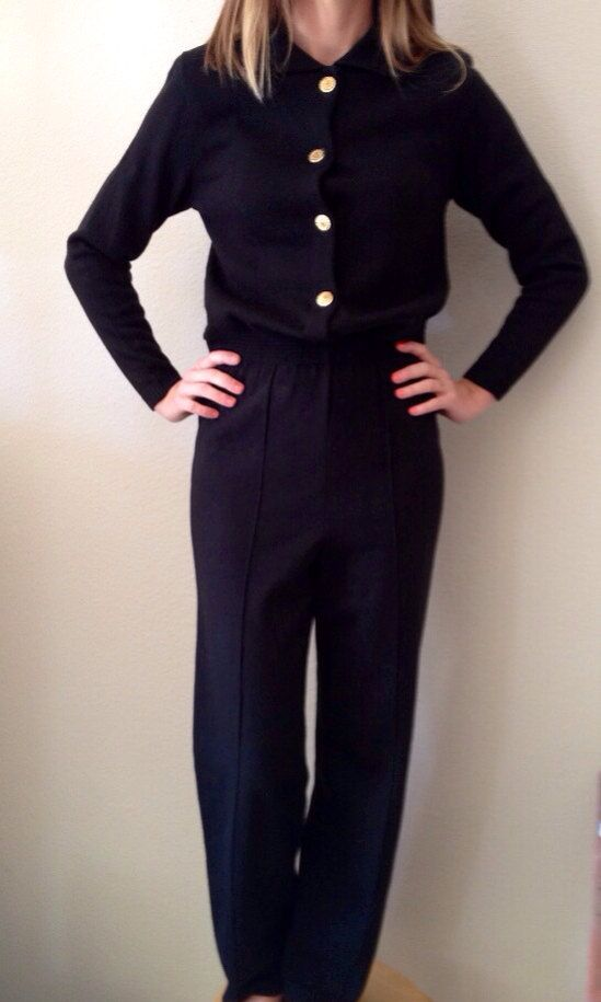 80's Black Knit Jumpsuit Sweater w/Gold Buttons by Laura Petites by Alyzia -Small (St. John-Style) on Etsy, $38.00