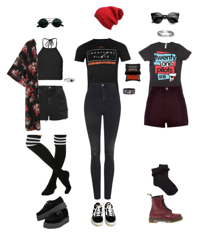 """""""Twenty One Pilots concert outfits"""" by grungeclothes ❤ liked on Polyvore featuring Apex, Topshop, Vans, Boohoo, River Island, Dr. Martens and Forever 21"""