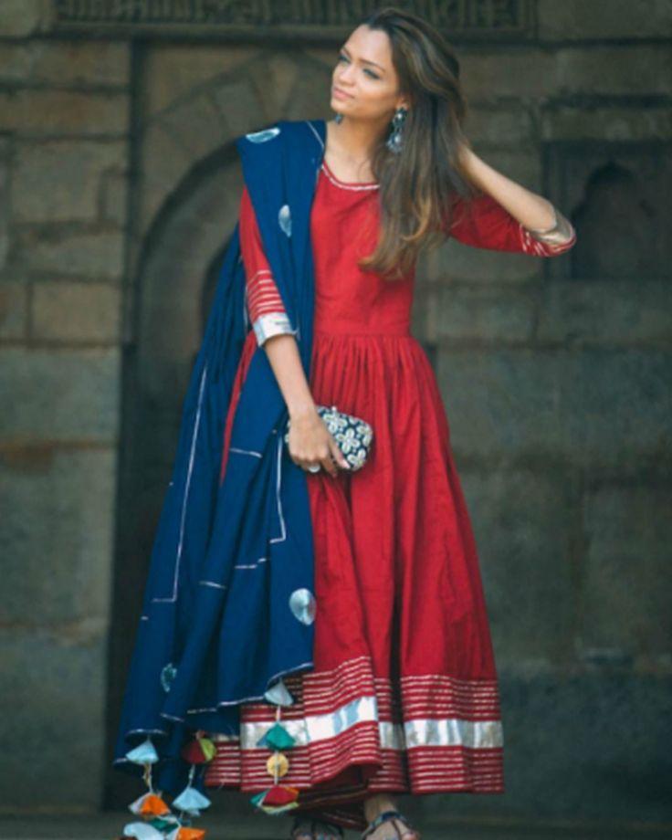 The Secret Label Red Silk Embroidered Anarkali Suit