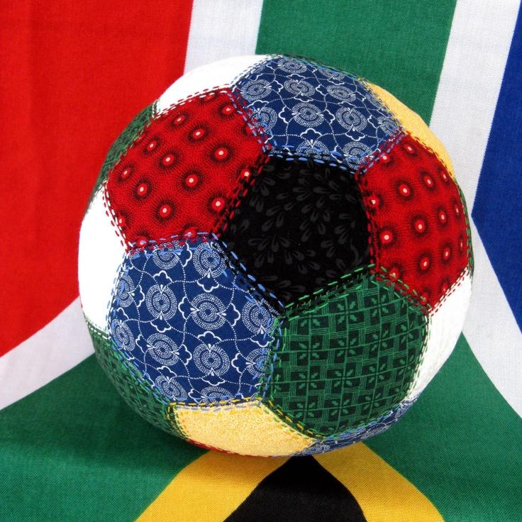 Shweshwe Soccer Ball - What a cute idea by Marula Imports! by Ansie Vanderwalt