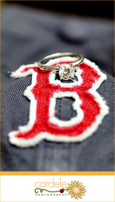 Red Sox Theme Wedding, Engagement Ring Photo,