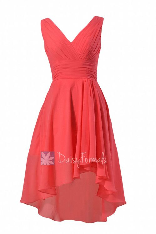 Red Coral Chiffon Bridesmaid Dress A-line Cherry Bridal Party Dress by Daisybridalhouse(BM2422)
