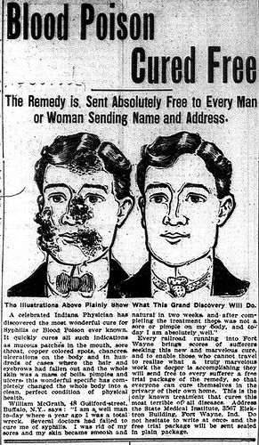 Syphilis and blood poisoning cure from a celebrated Indiana physician.  Be cured in the privacy of your own home.  And it's free! (1902)