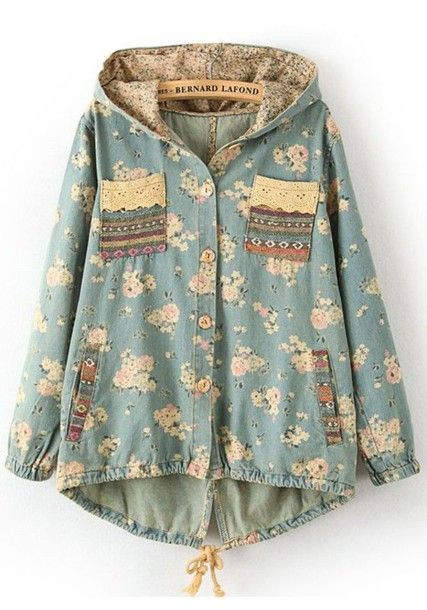 Jacket Sweet Hippie Aztec Boho Blue Hipster Vintage Indie Fall Outfits Cute Cardigan Buttons Floral Winter