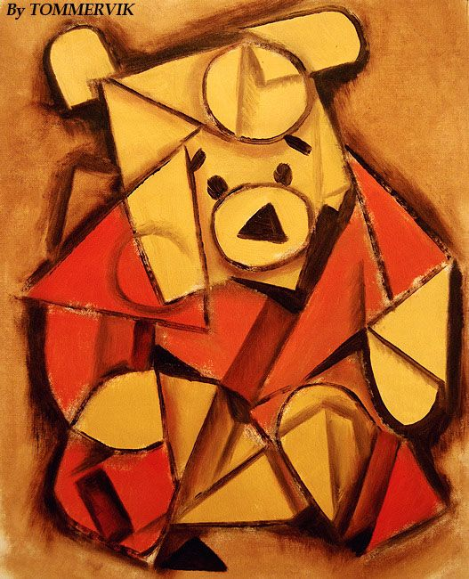 "cubist inspired pooh bear... choose a ""Master Artist"" style and paint a modern icon in that style"