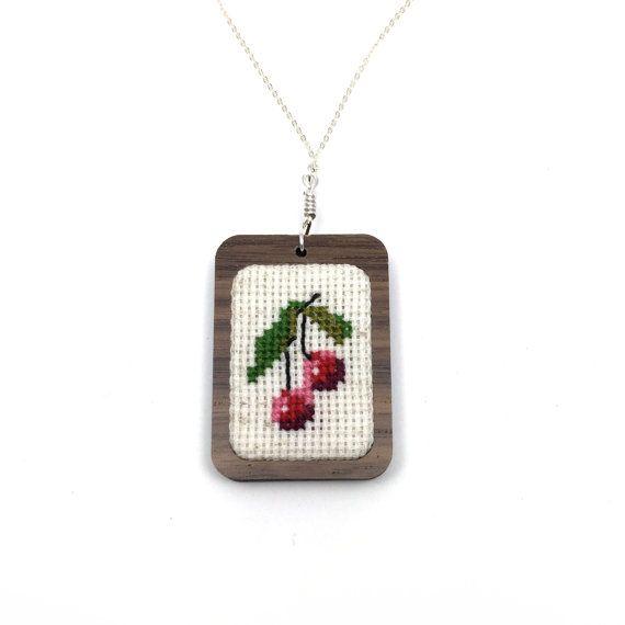 Cross Stitch Cherry Necklace Cherries Jewelry by TheMarshWrenShop