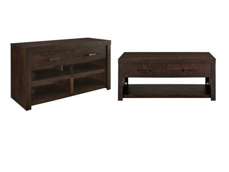 Contemporary,Transitional 42-inch TV Stand With Contemporary, Transitional Coffee Table. Includes: One (1) TV stand. TV Stand holds a flat screen TV up to 42 inches with a maximum weight of 50 lbs. Two (2) storage drawers provide concealed storage for remotes, games and magazines. Two (2) people are required for proper assembly. Includes: One (1) coffee table , The top shelf of the Coffee Table is perfect for displaying decorative accessories or for keeping your magazine and drink within...