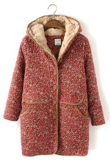 So Pretty! Vintage Floral Print Coat Outerwear #vintage #style