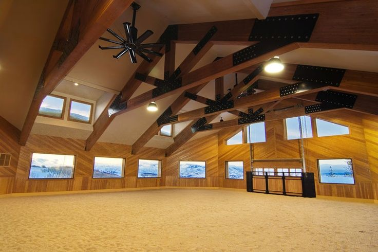 Riding Arena With Big Fans For Indoor Future Barn