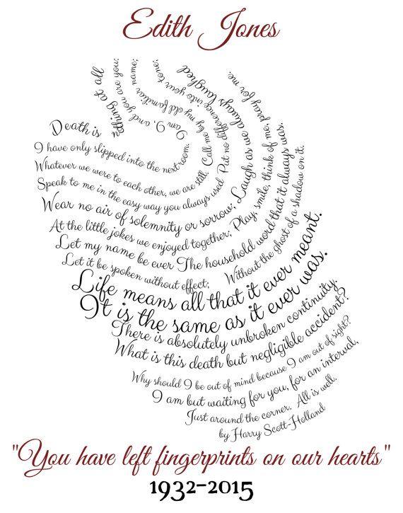 Remembrance print, funeral print, eulogy, fingerprint art