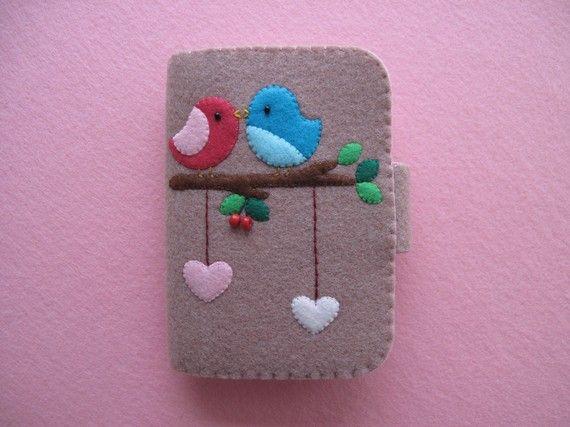 #Felt, #Fieltro Birds felt case, Funda de fieltro, pájaros