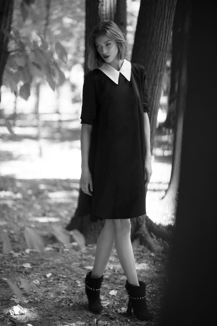 Taffeta White Collar Dress