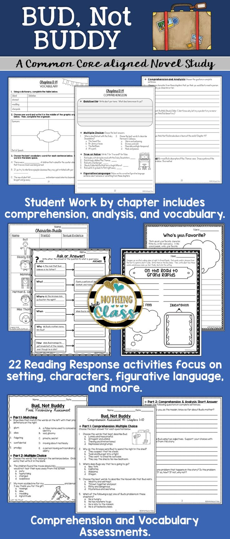 Uncategorized Bud Not Buddy Worksheets 8343 best images about tpt 3 5 literacy on pinterest context bud not buddy novel study unit comprehension vocabulary activities tests
