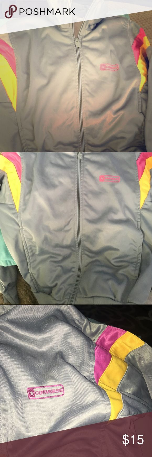 Converse Zip Up Cute and Comfortable converse zip up sweater. Like new condition. Perfect for this spring! Converse Jackets & Coats