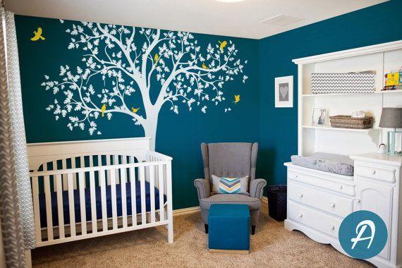 Eik decal witte boom sticker voor kwekerij verwisselbare muur
