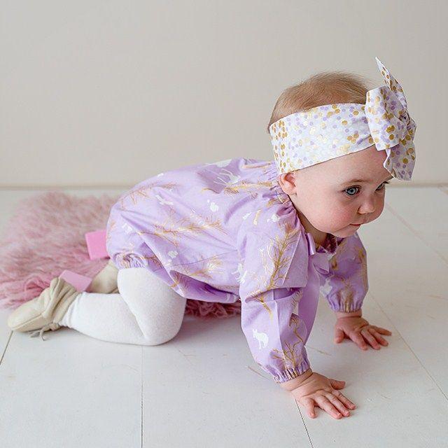 """Lilac Love"" Long Sleeve Romper Sizes 0000-2 | Twinkle Star | madeit.com.au"