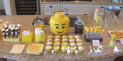 Love this Yellow & Grey Lego dessert table....I wonder why...hmmm.