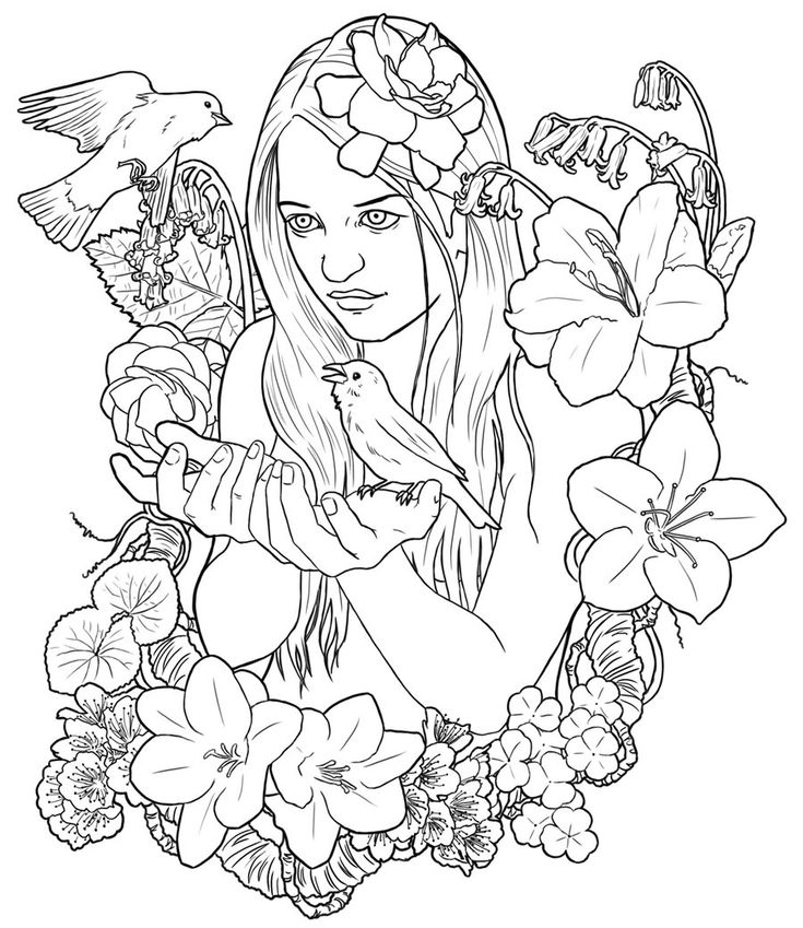 Adult Coloring Pages Pringtime By Clz