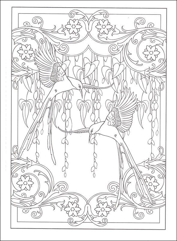 art nouveau animal designs coloring book additional photo inside page - Art Nouveau Unicorn Coloring Pages
