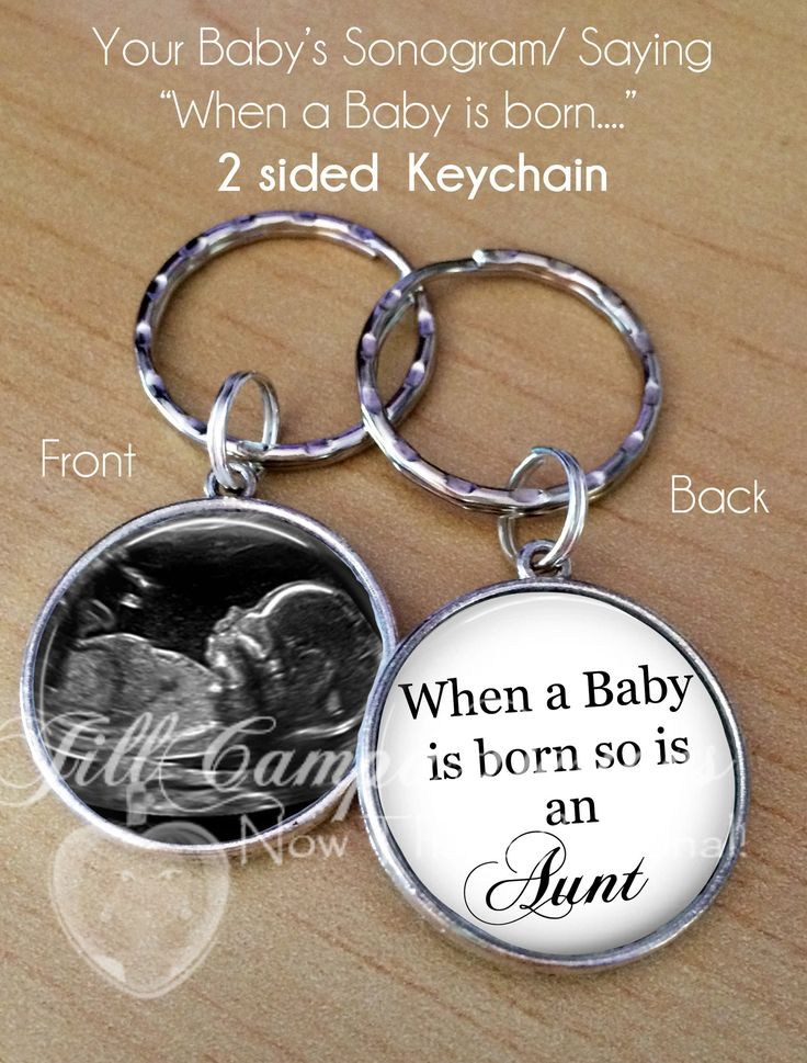 "2 sided photo keychain - BABY SONOGRAM KEYCHAIN - ""When a Baby is born so is an Aunt, Auntie, Daddy, Mommy, Grandma, Grandpa, Uncle, Brother, Sister"", - ultra"