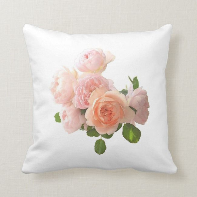 Watercolor Roses Flowers Elegant Floral Template Throw Pillow Zazzle Com